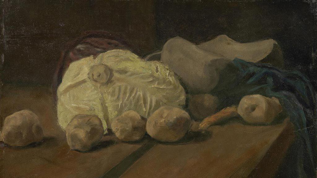 ภาพวาด Still life with cabbage and clogs